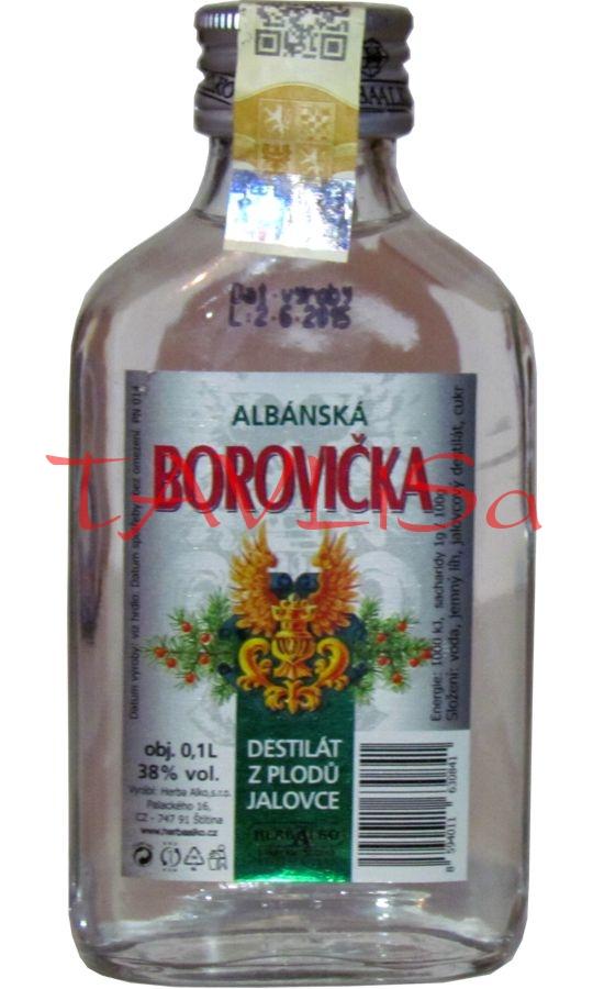 Borovička Albánská 38% 0,1l Herba Alko placatice